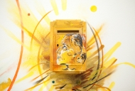C215 Artwork Portrait on Postbox yellow with Art